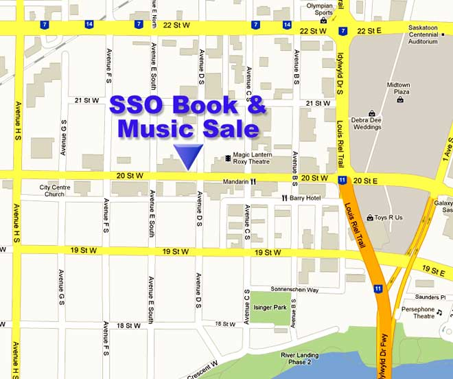 Map to Saskatoon Symphony Office and Book & Music Sale